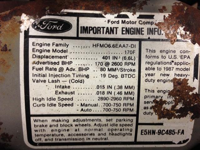 Ford 6 6L-170hp Diesel Engine