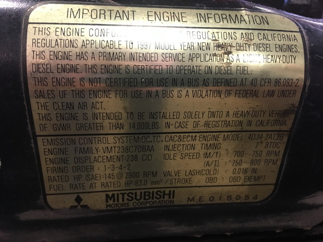Mitsubishi 4D34 Turbocharged Diesel Engine
